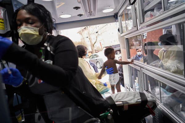 A toddler in Massachusetts received a routine checkup in an ambulance in April 2020.