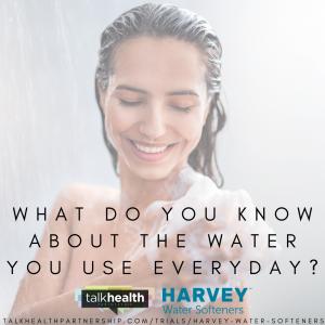 woman showering, harvey water softener survey
